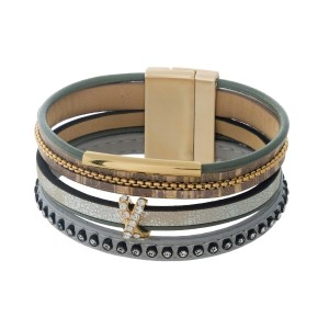 Brown, tan, and gray faux leather magnetic bracelet with a clear rhinestone accent.
