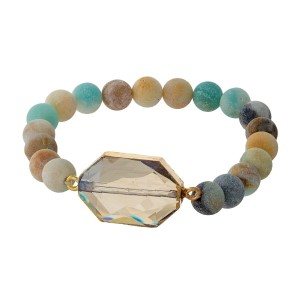 Amazonite beaded stretch bracelet with a topaz stone and gold tone accents.