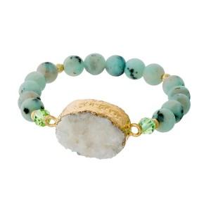 Sesame jasper beaded stretch bracelet with a white druzy stone focal.