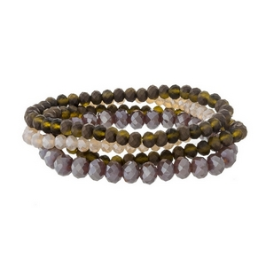 Four piece stretch bracelet set with shades of brown and lavender faceted beads.