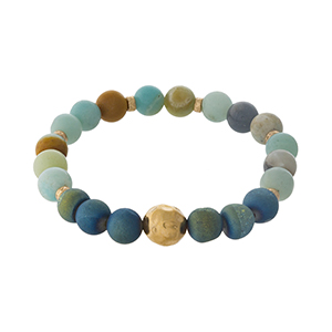 Amazonite natural stone beaded stretch bracelet with gold tone accents.