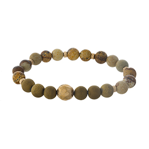 Picture jasper natural stone beaded stretch bracelet with gold tone accents.