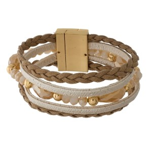 Braided faux leather bracelet with faceted beads and a magnetic closure.