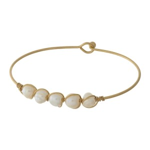 """Ivory Pearl Wire Bangle Bracelet.  - Hook Closure - Approximately 3"""" in Diameter"""