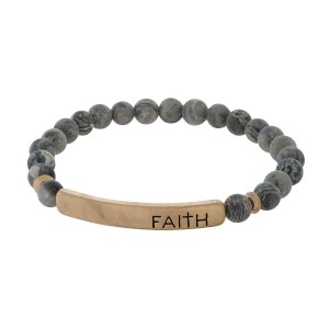 """Natural Stone Beaded Faith Bar Stretch Bracelet.  - Focal 1.5""""  - Bead Size: 5mm - Approximately 3"""" in Diameter"""