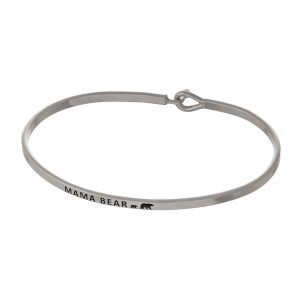 """Metal bracelet with engraved message, """"Mama Bear."""""""