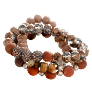 """Natural stoned beaded stretch bracelet with rhinestones details. Approximate 6"""" in length."""