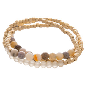 "Layered gorgeous bracelet with natural stone and beads. Approximate 3.5"" in diameter."
