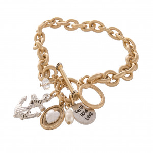 "Metal chain linked bracelet with charms. Approximate 6"" in length."