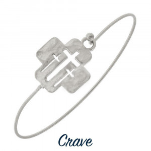 Gorgeous metal bracelet with triple cut-out cross. Approximate 2.5 in diameter.
