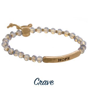 "Enjoy this gorgeous bracelet with adjustable tie with positive ""Believe"" message. Approximate 8"" in length."
