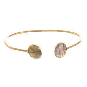 """Metal bracelet with natural stone wrist detail. Approximate 2.5"""" in diameter."""
