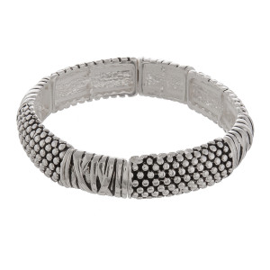 """Metal stretch bracelet. Approximate 6"""" in length."""