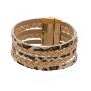 "Leather multi band bracelet with animal print. Approximate 7"" in length."