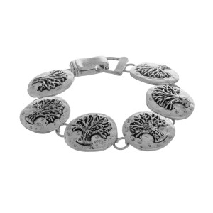 """Metal bracelet with 'tree of life detail. Approximate 8"""" in length."""
