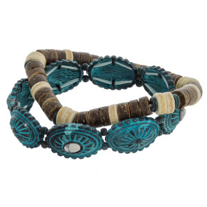 """Natural stone beaded bracelet with some wood detail. Approximate 6"""" in length."""