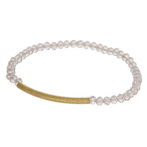 """Dainty Beaded Stretch Bracelet Featuring Gold Tube Focal.  - Approximately 3"""" in diameter - Fits up to a 7"""" wrist"""