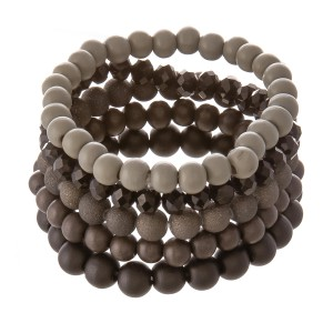"Wood Beaded Stackable Stretch Bracelet Set Featuring Acrylic & Faceted Beads.  - 5pcs per set - Approximately 3"" in diameter - Fits up to a 7"" wrist"