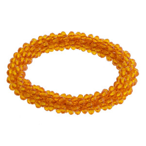 "Orange beaded stretch bracelet. Approximately 2.5"" in diameter. Fits up to a 5"" wrist."