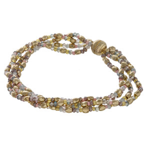 "Multi strand seed beaded bracelet featuring a magnetic closure. Approximately 3"" in diameter. Fits up to a 6"" wrist."