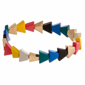 """Triangle color block beaded stretch bracelet. Approximately 3"""" in diameter unstretched. Fits up to a 6"""" wrist."""