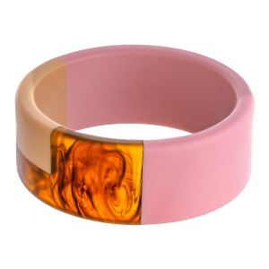 """Matte resin color block bangle bracelet. Approximately 3"""" in diameter. Fits up to a 6"""" wrist."""