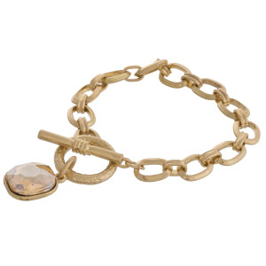 """Rhinestone chain link toggle clasp bracelet.  - Approximately 3"""" in diameter - Fits up to a 6"""" wrist"""