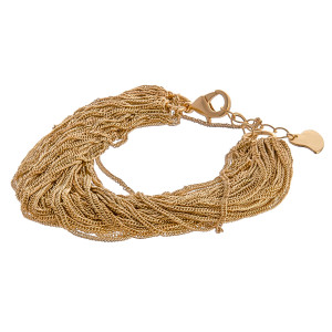 """Multi strand curb chain link bracelet with lobster clasp closure. Approximately 3"""" in diameter. Fits up to a 6"""" wrist."""
