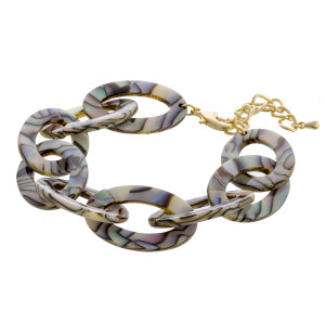 """Abalone resin chain link bracelet. Approximately 3"""" in diameter. Fits up to a 6"""" wrist."""