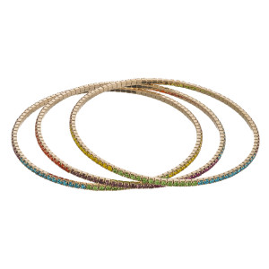 """Multicolor rhinestone bangle bracelet set of three featuring super flexible memory wire. Approximately 2.75"""" in diameter. Fits up to a 5.5"""" wrist."""