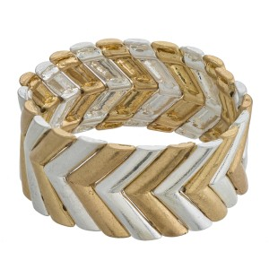 """Two tone metal chevron stretch bracelet. Approximately 3"""" in diameter unstretched and 1"""" in width. Fits up to a 6"""" wrist."""