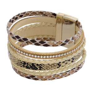 """Multi strand faux leather snakeskin magnetic bracelets featuring rhinestone and braided accents. Approximately 3"""" in diameter and 1"""" in width. Fits up to a 6"""" wrist."""