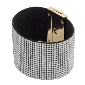 """Faux leather rhinestone turnlock clasp closure. Approximately 3"""" in diameter and 1.5"""" in width. Fits up to a 6"""" wrist."""
