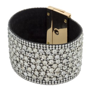 """Faux leather rhinestone crystal turnlock clasp bracelet. Approximately 3"""" in diameter and 1.5"""" in width. Fits up to a 6"""" wrist."""