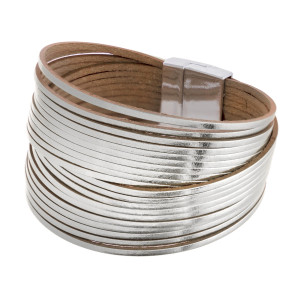 """Metallic multi strand faux leather magnetic bracelet. Approximately 3"""" in diameter. Fits up to a 6"""" wrist."""