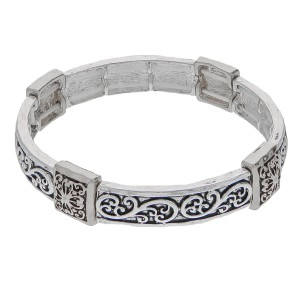 """Antique silver filigree metal stretch bracelet.  - Approximately 3"""" in diameter unstretched - Fits up to a 6"""" wrist"""