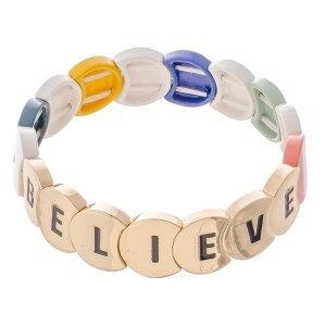 "Gold Tone Enamel Coated ""Believe"" Letter Color Block Stretch Bracelet.  - Approximately 3"" in diameter - Fits up to a 7"" wrist"