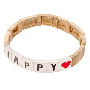 "Gold Tone Enamel Coated Tile ""Happy"" Letter Block Stretch Bracelet with Heart Detail.  - Approximately 3"" in diameter - Fits up to a 7"" wrist"