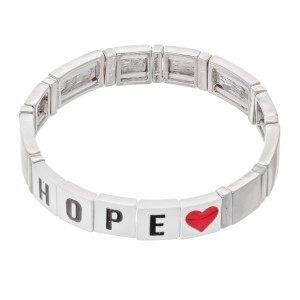 "Silver Tone Enamel Coated Tile ""Hope"" Letter Block Stretch Bracelet with Heart Detail.  - Approximately 3"" in diameter - Fits up to a 7"" wrist"
