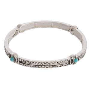 """Antique silver turquoise natural stone accented metal stretch bracelet.  - Approximately 3"""" in diameter unstretched - Fits up to a 6"""" wrist"""