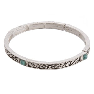 """Antique silver turquoise natural stone metal stretch bracelet.  - Approximately 3"""" in diameter unstretched - Fits up to a 6"""" wrist"""
