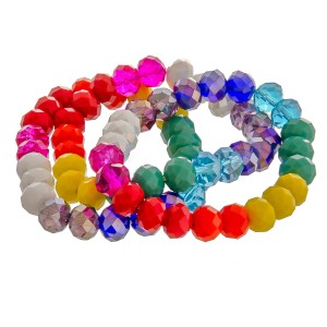 """Multicolor faceted beaded stretch bracelet set of three. Approximately 3"""" in diameter unstretched. Fits up to a 6"""" wrist."""