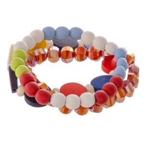 "Multicolor wood beaded stretch bracelet set.  - 3pcs/pack - Approximately 3"" in diameter unstretched - Fits up to a 7"" wrist"