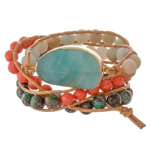 "Semi precious beaded natural stone cord wrap bracelet.  - Pull through button clasp - Adjustable 2"" extender - Approximately 3"" in diameter - Fits up to a 7"" wrist"