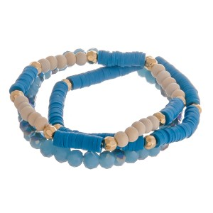 "Polymer Clay and Wood spacer disc beaded stretch bracelet set.  - 3pcs/set - Approximately 3"" in diameter unstretched - Fits up to a 7"" wrist"