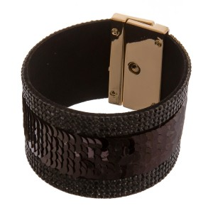 """Faux leather rhinestone sequin turnlock clasp closure bracelet. Approximately 3"""" in diameter and 1.5"""" in width. Fits up to a 6"""" wrist."""