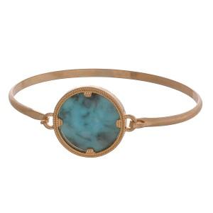 """Natural stone focal bangle bracelet.  - Focal approximately .75"""" in diamter - Approximately 6"""" in diameter"""