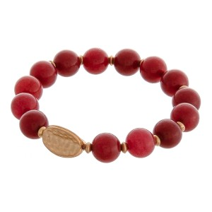 """Semi precious natural stone stretch bracelet.  - Approximately 3"""" in diameter unstretched - Fits up to a 6"""" wrist"""