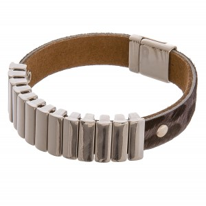 "Cowhide leopard print bar magnetic bracelet.  - Magnetic closure - Approximately 3"" in diameter - Fits up to a 6"" wrist"