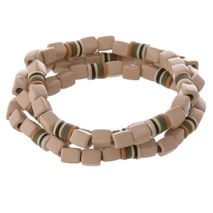 "Shiny enamel coated block beaded stretch bracelet set with spacer bead details.  - 3 pcs/pack - Approximately 3"" in diameter unstretched - Fits up to a 7"" wrist"